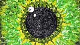 Зелене око. Олія на дереві.