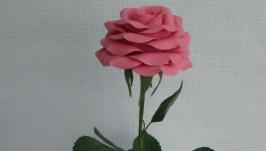 Розовая роза из холодного фарфора.