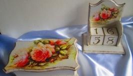 Подарочный набор: Шкатулка и вечный календарь ′Romance′ в стиле шебби-шик