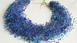 Воздушное колье Синее колье из бисера Колье на подарок