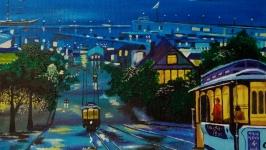 Картина маслом 25х35 Трамвайчики