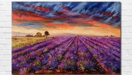 Картина маслом ′Лавандовое поле′ 40х60 см, холст на подрамнике, масло