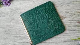 Кошелек зажим мужской зеленый для денег и карточек с тиснением лев