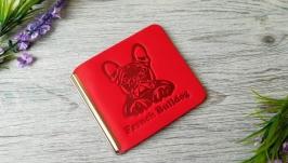 Кошелек зажим женский красный для денег и карточек с тиснением бульдог