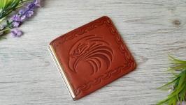 Кошелек зажим мужской коричневый для денег и карточек с тиснением орел
