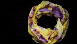 шарф валяний  ′Сонячно-бузковий′