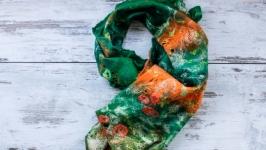 Валяний шарф ′Смарагдова розкіш′