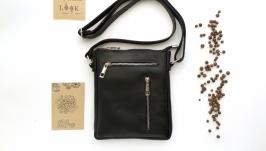 Мужская кожаная сумка через плечо ′Душистый перец′ (черная)
