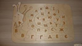 Украинские деревянные пазлы. Алфавитная улитка 37 на 25 см