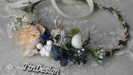 Вінок  на голову в синіх та молочних кольорах. Венок с цветами