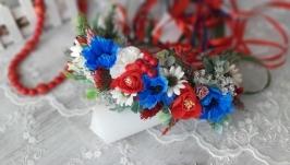 Вінок український на голову з квітами та стрічками. Обруч. Венок с лентами