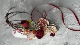 Вінок  на голову в марсала тонах. Венок с цветами