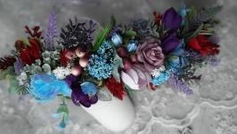 Вінок український на голову з квітами. Обруч. Венок с лентами
