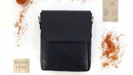 Классическая мужская сумка с клапаном ′Шафран′ (черная)