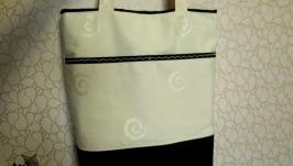 Текстильная сумка, шоппер на магнитной кнопке.