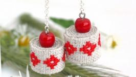 Длинные серьги цепочки с красным кораллом Летние серьги бохо этно стиль