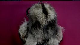 Рюкзак женский с натуральным мехом енота.