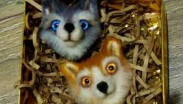 Валяная брошка ′Лисенок′ и ′Собачка′