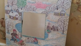 Зеркало в рамке ′Зимние забавы′