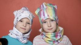 Детский комплект шапка и снуд для мальчиков и девочек