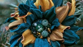 Брошь цветок из кожи «MaryS Leather Accessories», ручная работа на заказ
