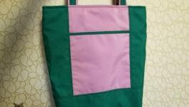 Текстильная сумка, шоппер на молнии.
