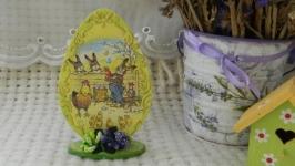 Декоративное пасхальное яйцо ′Кролики′