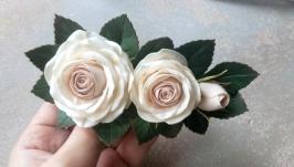Заколка для волос гребень в прическу невесты цветы для волос цвет пудра