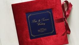Бархатный фотоальбом марсала, Весільний фотоальбом, Книга пожеланий