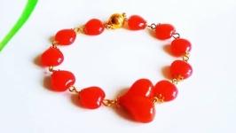 Браслет Сердце Красивый красный браслет Браслет подарок девушке