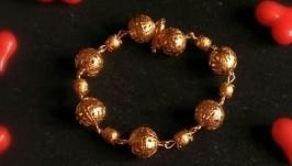 Красивый золотистый браслет Черно-золотой браслет на подарок девушке