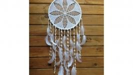 Ловец снов белый в стиле бохо оригинальный из натуральных материалов