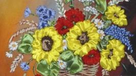Вышитая лентами картина ′Букет полевых цветов′