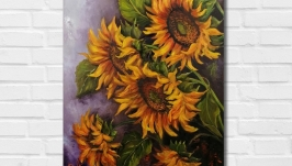 Картина маслом ′Подсолнухи′ 45х35 см, холст на подрамнике, масло