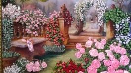 Вышитая лентами картина ′Розы в саду′