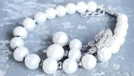 Комплект  з натуральних перлів браслет та сережки з гематитом