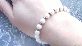 Браслет з натуральних перлів та гематиту