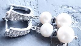 Сережки з натуральними перлами гематитом і кристалами