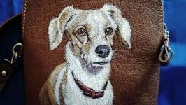 Кожаная сумка с портретом собаки