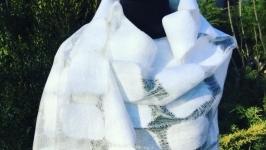 Валяный шарф «белое облако»
