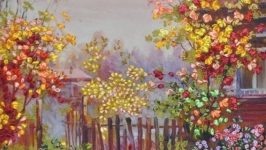Вышитая лентами картина ′Осенний клен′