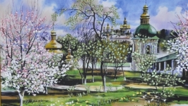 Вышитая лентами картина ′Весна′