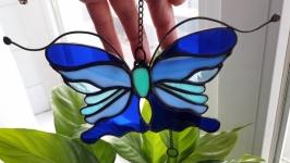 Витражная подвеска на окно «Синяя Бабочка»,
