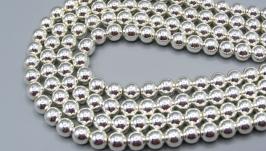 Гематит нить 6 мм серебро круглые бусины гальваник