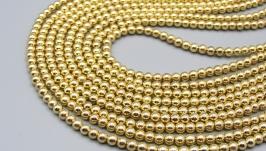 Гематит нить 4 мм золото круглые бусины гальваник