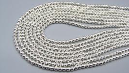 Гематит нить 4 мм серебро круглые бусины гальваник