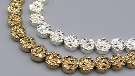 Гематит друза 8 мм золото таблеточки круглые бусины гальваник