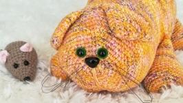 Crochet ginger fat cat made of cotton