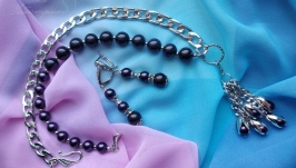 Кольє та сережки ′ФІОЛЕТОВІ СНИ′