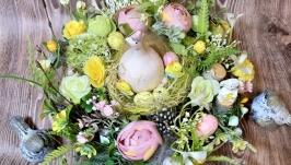 Пасхальная композиция на стол венок великодня композиція вінок декор